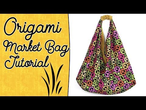 Origami Bag Tutorial with Lining - Easy Market Tote Bag Sewing Project