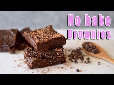 CHOCOLATE BROWNIES RAW VEGAN   HEALTHY DESSERT NO BAKE RECIPE