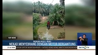 Viral, Pengendara Motor Nyebrang Sungai ala iFlying Foxi