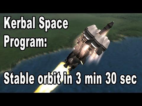 Kerbal Space Program speed run: Stable orbit and splashdown in 8:25