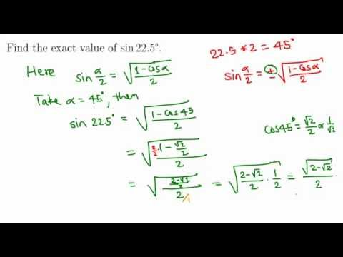 Finding exact value of sin 22.5 degrees