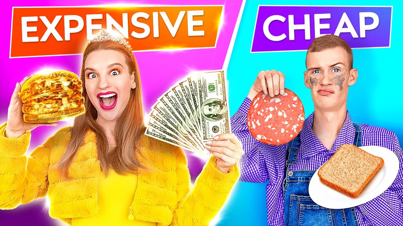 EXPENSIVE VS CHEAP FOOD CHALLENGE! Rich VS Poor Student! Eating Only Cheap Food by 123 GO! Challenge