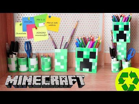 🎒🏫 Back to School Crafts: Minecraft Desk Organizer