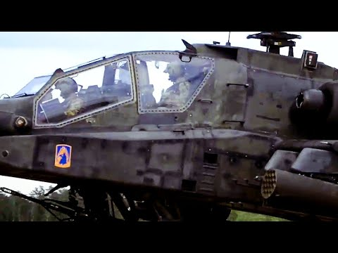 Nice UP-CLOSE (and loud) HD LOOK at a U.S. Army APACHE HELICOPTER landing during 'Saber Strike'!