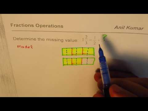 Determine the missing value in Fraction A/B in Addition 5/3 = 1/2 + A/B