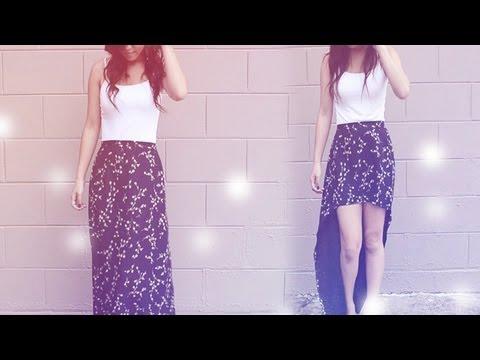 DIY: Long Skirt into Hi-Low Skirt