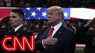 President Trump half-sings the National Anthem