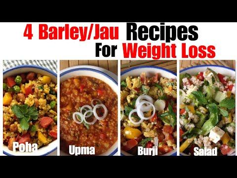 4 Healthy Barley / Jau Recipe | how to make Barley poha, Upma, burji, salad | for Weight Loss