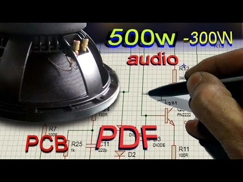 High power subwoofer amplifier, schematic Pdf  Simple audio to 500w using transistor
