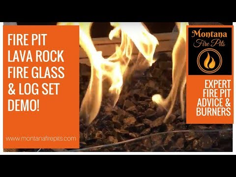 Fire Pit Demo with Lava Rocks, Fire Glass and Log Set