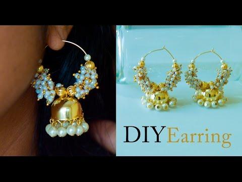 How to make earrings jhumkas at home | DIY Bollywood  Jhumkas | hoop earrings |  | Beads art
