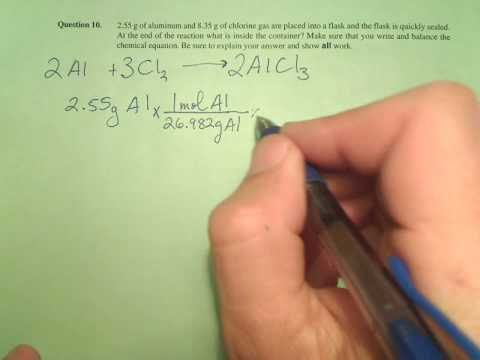 Al and Cl2 react LR no numerical answer