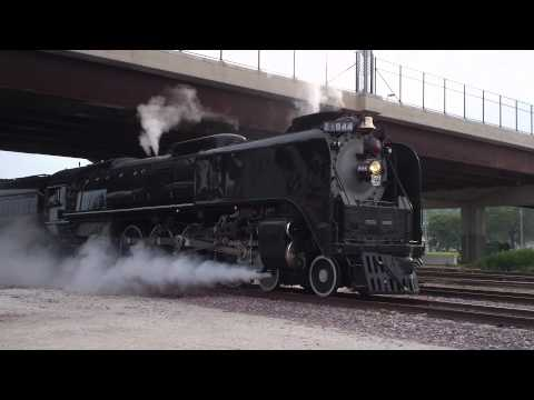 UP X-844 Steam Engine leaving Heritage Park in Council Bluffs Iowa