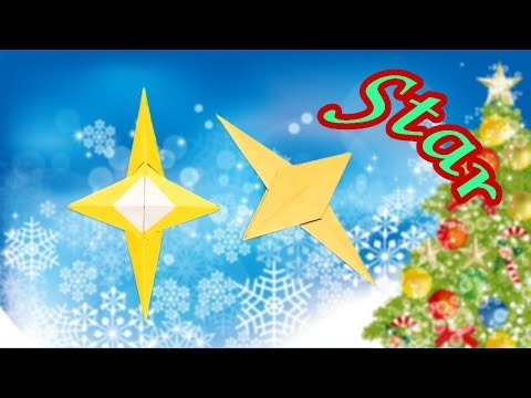Origami 4 Pointed Star with 1 Paper | How to Make Christmas Decoration No Glue and Scissors