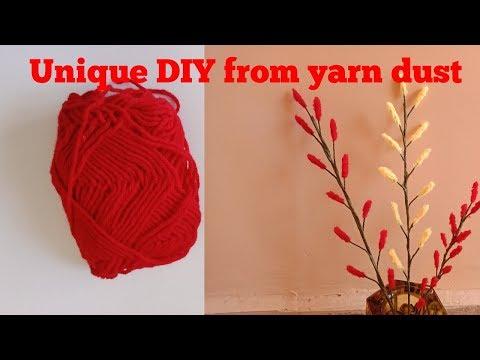 How to make stick flowers using yarn dust | DIY woolen dust flower