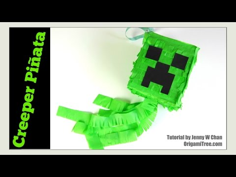 Paper Crafts - How to Make a Piñata- DIY Minecraft Creeper Piñata - EASY Summer Crafts for Kids
