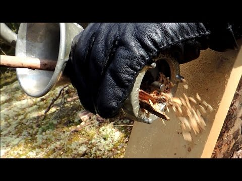 How we made wood chips mulch & build muscles at the same time with a manual meat grinder