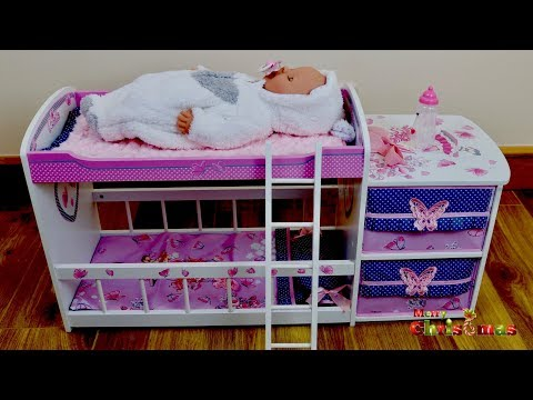 Beautiful Dolls Wooden Bed with Pillow and  Drawer Unboxing Set up & Play with Baby Born Doll