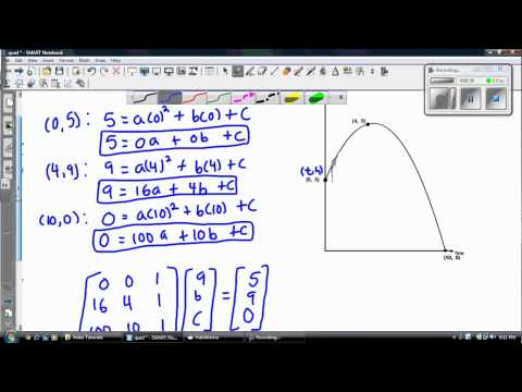 Finding the Equation of a Quadratic given 3 points