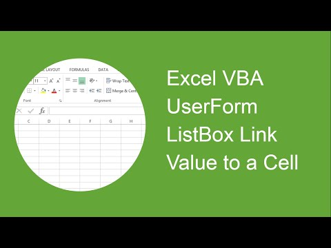Excel VBA UserForm Listbox Link the Value to a Cell