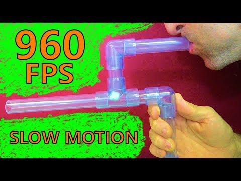 Clear PVC Marshmallow Gun in Slow Motion