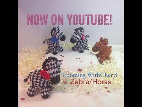 Rainbow Loom ZEBRA or HORSE - Loomigurumi - Amigurumi Hook Only Лумигуруми