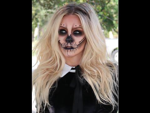 Skull Glam Rock Halloween Makeup Tutorial with Beach hair