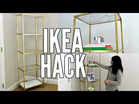 IKEA HACK! | GOLD AND WHITE MARBLE DIY | IKEA VITTSJO SHELF UNIT