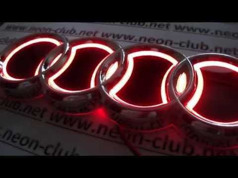 Audi parts and accessories Badge 5D style emblem of Audi lights car, logo sticker with red light
