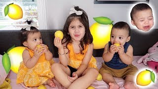 KIDS VS LEMON!!! *WHOEVER MAKES A FACE FIRST LOSES!*