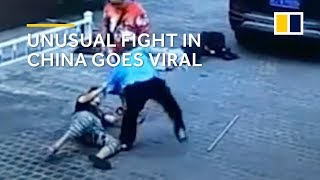 Unusual fight in China goes viral