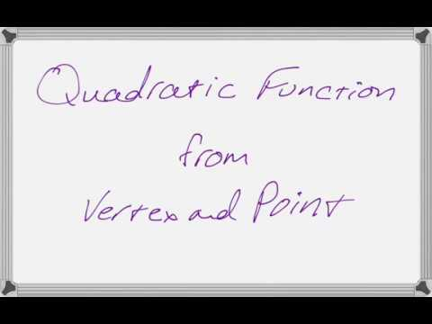 Quadratic Function Given Vertex and Point