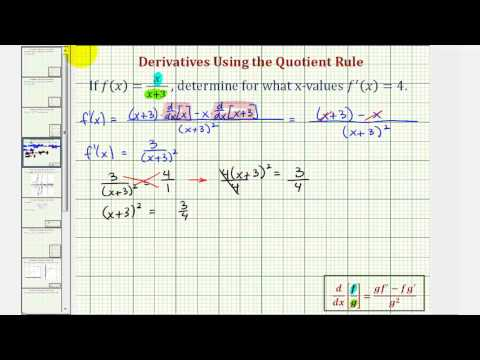 Ex: Find the X-values Where a Function has Derivative Function Value (Quotient Rule)