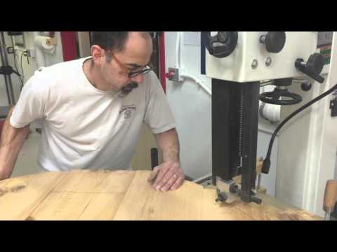 Cutting large round table with bandsaw