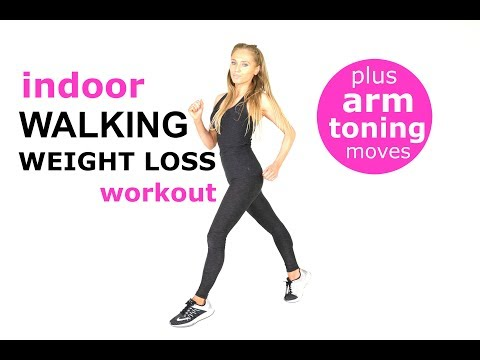 WALK AT HOME BEGINNERS WORKOUT - WALKING WORKOUT FOR WEIGHT LOSS -  WITH ARM EXERCISES FOR WOMEN -