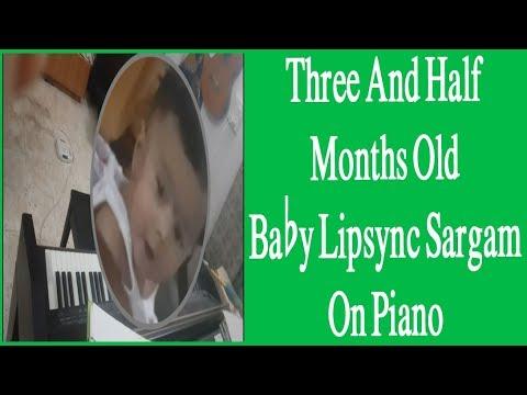 Three And Half Months Old Baby Lipsync Sargam On Piano