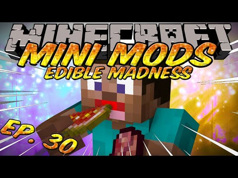 Minecraft Mini Mods Ep 30 - Edible Madness Mod - Eat Glistering Melon and Fermented spider eyes!