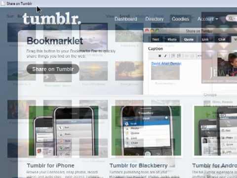 Using the Tumblr bookmarklet
