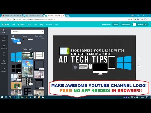 HOW TO MAKE AWESOME YOUTUBE CHANNEL LOGO IN BROWSER😱😉 - FREE IN A MINUTE