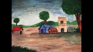 how to paint village landscape with watercolour peed painting