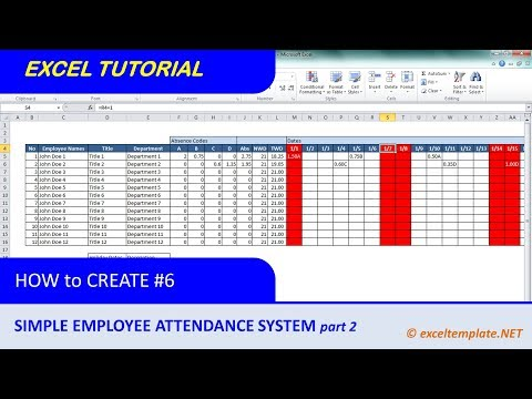 How to Create a Simple Excel Employee Attendance Tracker Sheet : Part #2