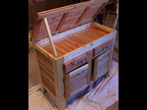 Pallet Wood Cabinet With Hidden Compartment, Lid, Drawers, and Doors