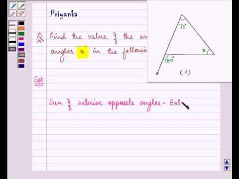 Example: Finding Interior Angle in Triangle