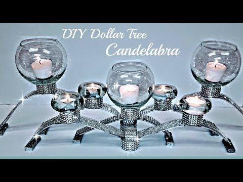 DIY Dollar Tree GLAM Candelabra Candle Holder -  Bling Centerpiece