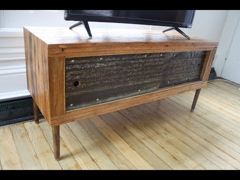 Woodworking :  Reclaimed Wood Mid-Century Modern TV Stand
