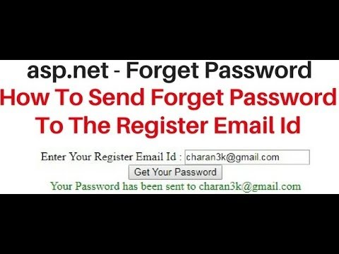 how to send forgot password to user register email id asp net c# code