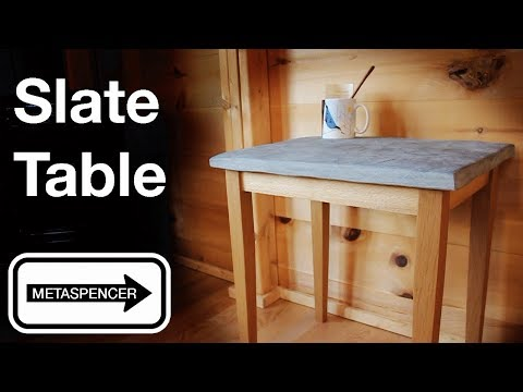 Slate Table from Raw Stone and Barn Wood