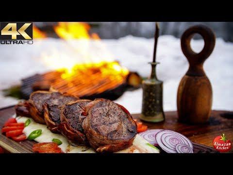 White Chocolate Steak & Snow Sauce - Frozen Cooking in 4K