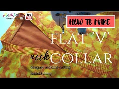 v neck How to make flat V collar sewing [ How to Sew a V Neckline ]