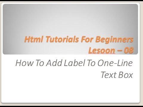Html Tutorials For Beginners - 08 - How To add label to one line text box in html